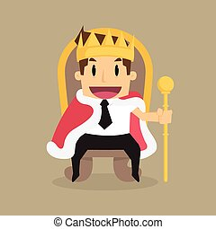 A successful businessman is sitting on the throne like a...