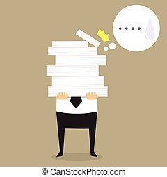 Businessman holding a lot of documents in his hands.vector