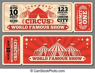 Circus magic show entrance vector tickets templates. Ticket...