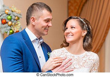 夫婦, 他們, 婚禮, 肖像, 天, 愉快