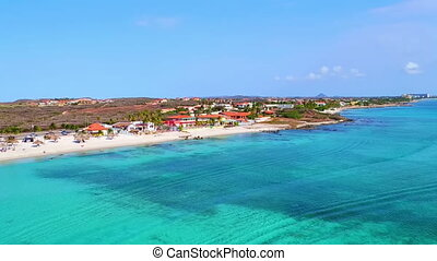 Aerial from Boca Catalina at Aruba island in the Caribbean