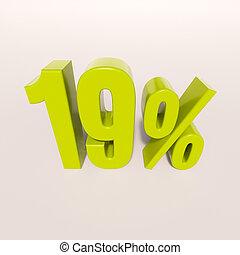 Percentage sign, 19 percent - 3d render: green 19 percent,...