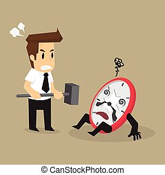 business man smashed watch not on time
