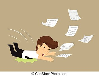 business man fell, document work distribution. vector