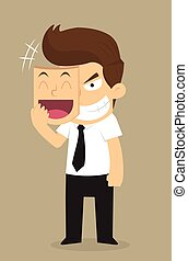 businessman wear the mask smile but face in insidious