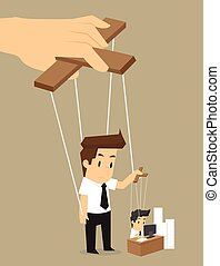 businessman in your control working puppets