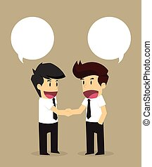 Businessmen shaking hands with an agreed proposal.vector