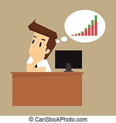 businessman thinking of earning more in the future. vector