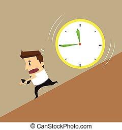 Businessman running clock attack
