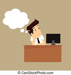 businessman is happy because of thought. vector