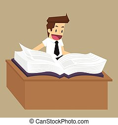 businessman reading a book to find the idea