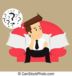 businessman thinking, problem-solving. vector