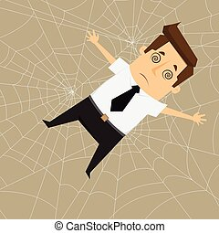 Businessman Trapped in spider webs