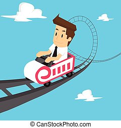 businessman roller coaster. vector