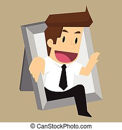 Businessman Thinking outside the frame. vector