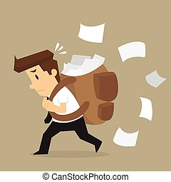 businessman carrying documents, work hard