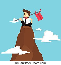 businessman holding a flag that succeed in mountain