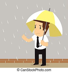 businessman was caught in the rain