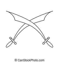 Crossed scimitars icon in outline style - icon in outline...