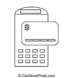 POS terminal and credit card icon, outline style - icon in...