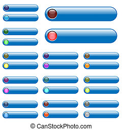 Various blue web bars with unlit and lit up circle icons.