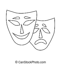 Comedy and tragedy theatrical masks icon - icon in outline...