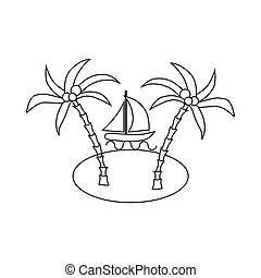 Sail boat and sea island with palm trees icon