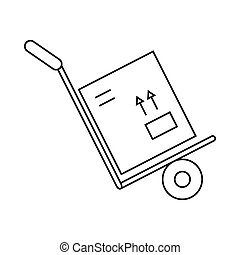 Hand truck with box icon, outline style