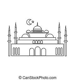 Mosque icon in outline style - icon in outline style on a...