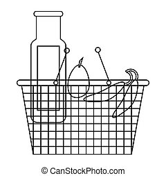 Shopping basket with groceries icon, outline style - icon in...