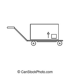 Hand truck with cargo icon, outline style