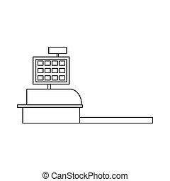 Cash register icon, outline style - icon in outline style on...