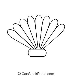 Seashell icon in outline style - icon in outline style on a...