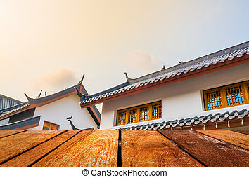 roof and blue skychinese style - image of roof and blue...