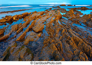 Twilight ocean coast with ribbed stratiform rock - Twilight...
