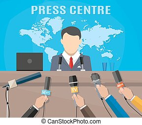 Press conference, world live tv news, interview. hands of...