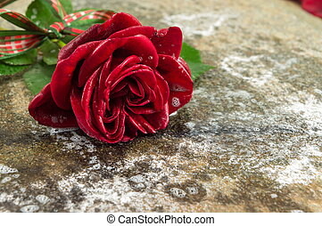 Red rose with ribbon on stone table