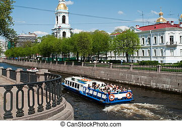 Sightseeing of Saint-Petersburg city, Russia. Rivers and...