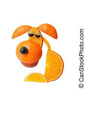 triste, Sentado, perro, hecho, de, naranja, en, aislado,...