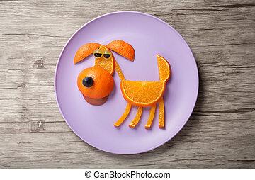 perro, hecho, de, jugoso, naranja, en, placa, y, tabla,