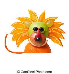 Sentado, león, hecho, de, manzana, y, naranja,