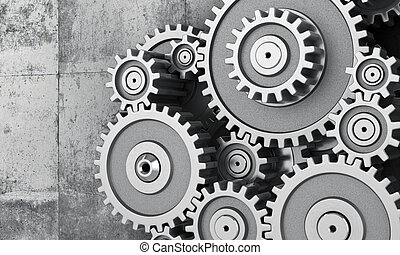 Concept of work. Mechanism of gears on a concrette...