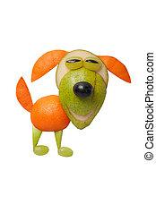 feliz, perro, hecho, de, frutas, en, aislado, Plano de...