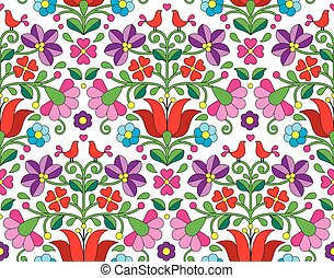 Kalocsai floral emrboidery seamless - Vector background -...