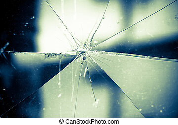 Broken Glass Vintage Background - Sharp glass hole cracks...