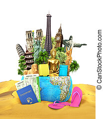 Travel concept. Sights from around the world are located in the planet which lies on the squeaking, and beside of the passport with tickets and beach slippers. 3d, illustration