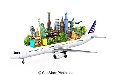 concept travel. travel the world by airplane, attractions...