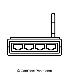 Router icon, outline style - Router icon in outline style...