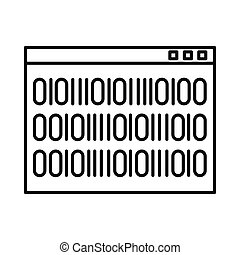 Binary code icon, outline style - Binary code icon in...