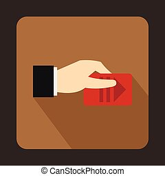 Hand with parking ticket icon, flat style - icon in flat...